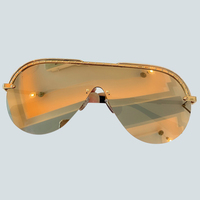 Fashion Oversize Half Frame Gradient Sunglasses Women Cover One Piece Goggle Shades UV400