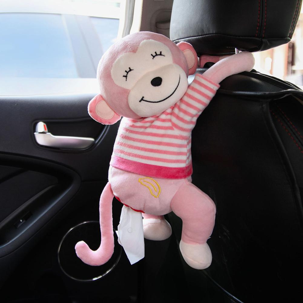 Napkin Tissue Box Creative Cartoon Monkey Home Office Car Hanging Paper Cover Holder Portable Paper Box Interior Accessoires
