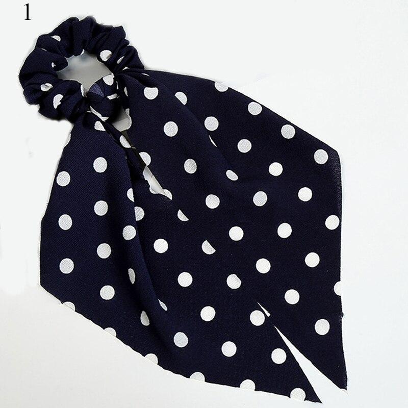 Femmes banderoles chouchous à pois imprimé Floral élastique noeud cheveux corde fille cheveux cravates coréen doux cheveux accessoires chapeaux 63