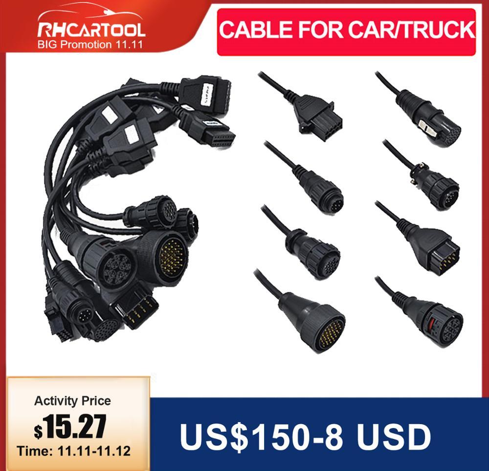 8 pcs lot OBD2 Cables for Car Trucks Diagnostic tool connect cable for Trucks OBD 2 cables for car diagnostic tool