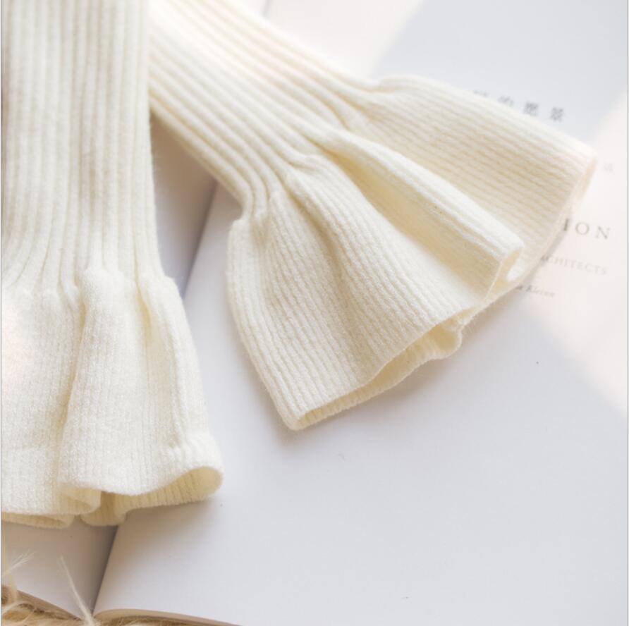 P2546 осень и зима Красивый вязаный женский солнцезащитный крем Рога Поддельные Длинные рукава - Цвет: Белый