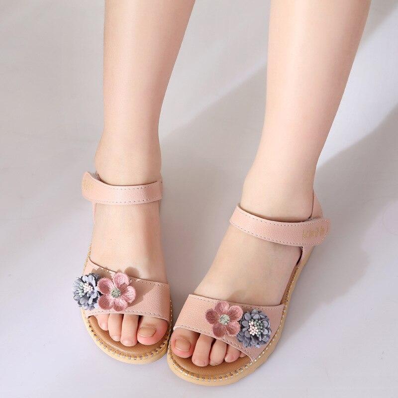 2020 Summer Toddler Girl Sandals Soft Bottom Leather Hollow Kids Sandals Flowers Princess Girls Shoes Non-Slip Children\'S Shoes