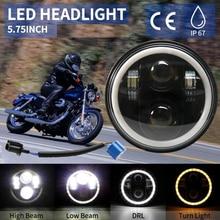 مصباح أمامي دائري LED للدراجة النارية ، مصباح أمامي دائري من 5 إلى 3/4 بوصة مع حلقة هالو بيضاء/كهرمانية لـ Dyna Sportster XL 1200 883 5.75 بوصة
