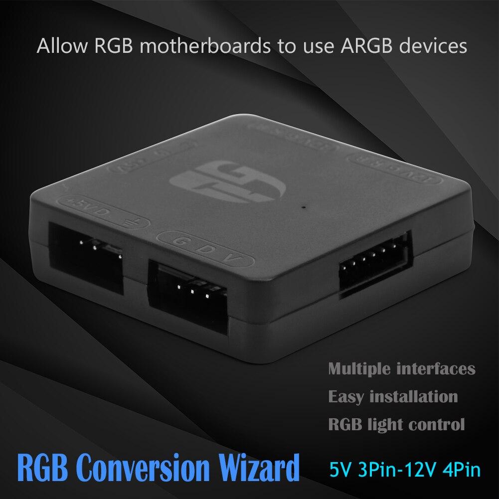 5V 3 Pin To 12V 4 Pin RGB HUB 5V RGB To 12V RGB Motherboard Plug Play Convenient Quick Operate Lighting Adapter