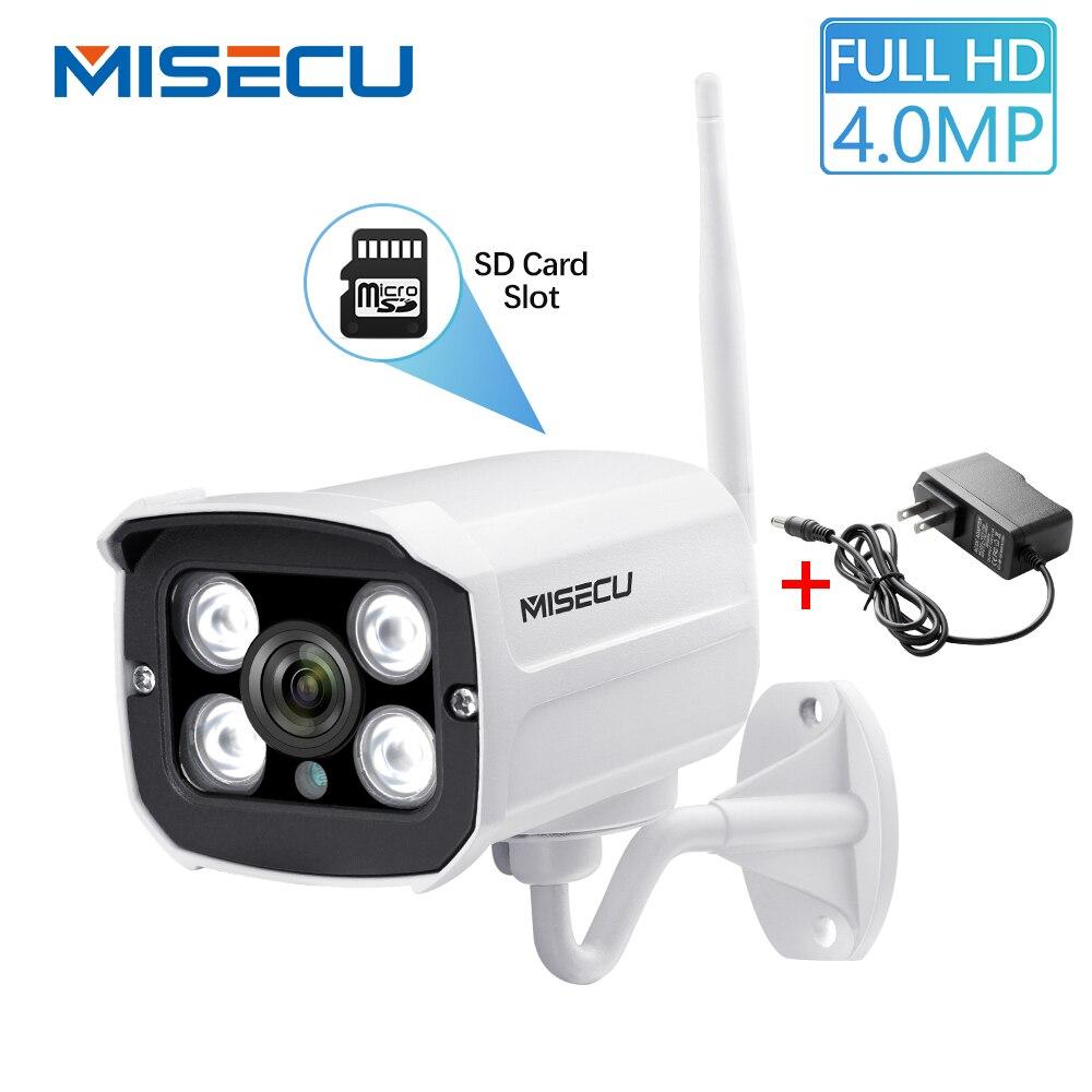 MISECU 4.0MP P2P Onvif Wifi IP Câmera Sem Fio SD Slot Para Cartão Max 64G Bala Câmera de Vigilância Ao Ar Livre À Prova D' Água À Noite visão