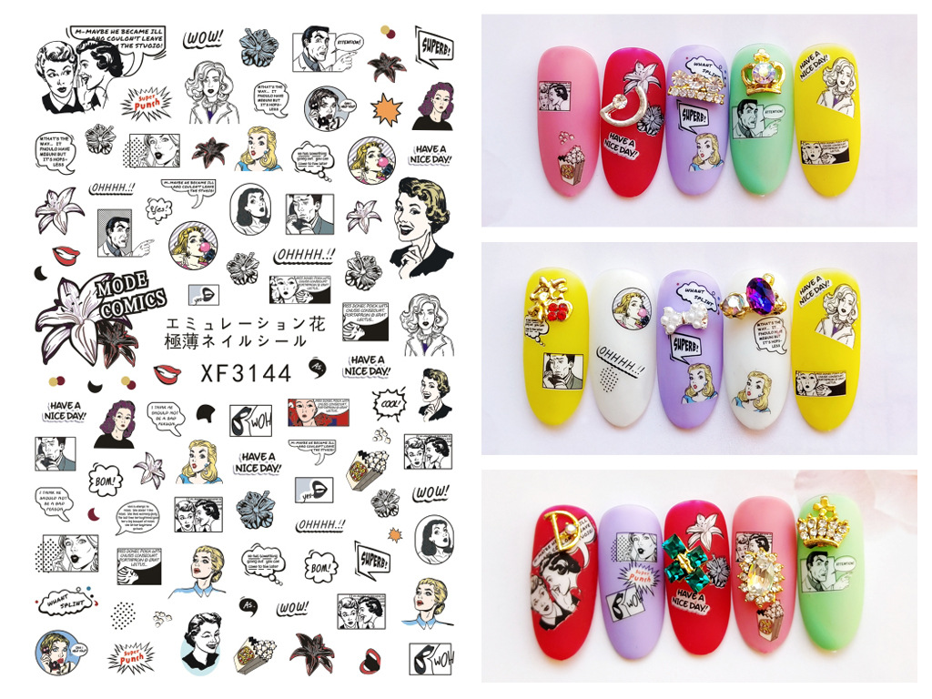 Adesivos de para unhas manicure adesivos dos desenhos animados da arte do prego adesivo fita adesiva do remendo do prego