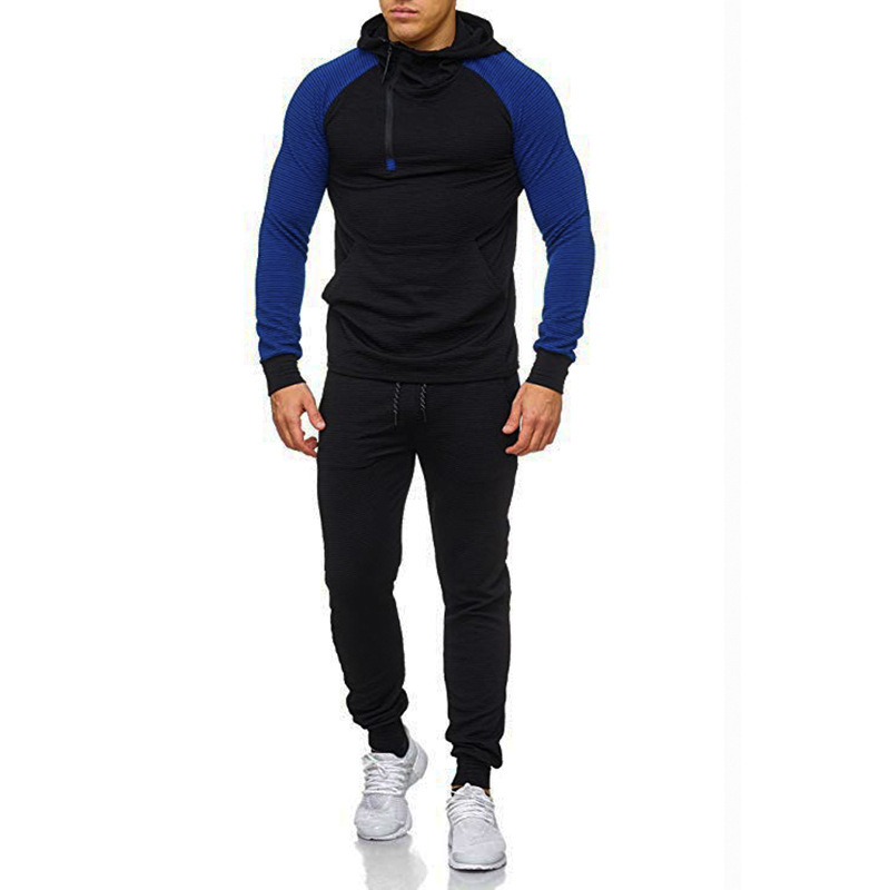 Men Leisure Set 2019 Autumn And Winter New Style Contrast Color Hooded Slim Fit Long Sleeve Hooded Sports Hoodie Trousers
