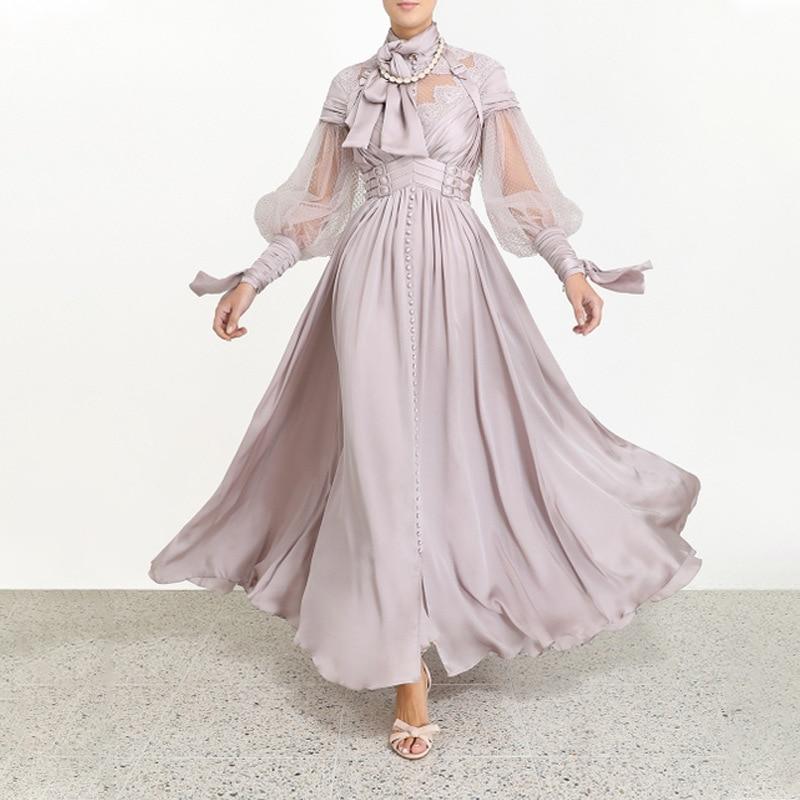 Élégant femmes robe haut qualité Sexy boîte de nuit Vintage dentelle lanterne manches soirée robes de soirée longue