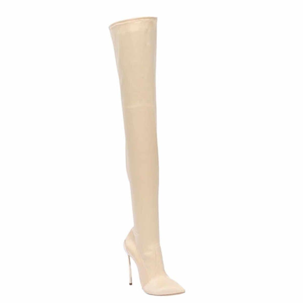 Prova Perfetto yeni Over-the-diz streç botları kadın sıska çizmeler kadın çizmeler sivri burun 12cm seksi gece kulübü yüksek topuk kadın