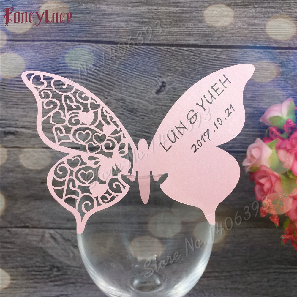60X Wedding place cards,wedding table mark wine glass card, laser cut name  place card butterfly Wedding Favor can be customized|Party DIY Decorations|  - AliExpress