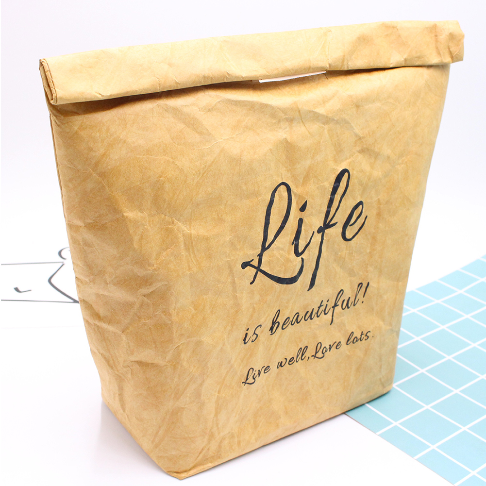 Food Container Thermal Insulation Large Capacity Lunch Bag Brown Paper School Waterproof Reusable Fresh Keeping Office Picnic