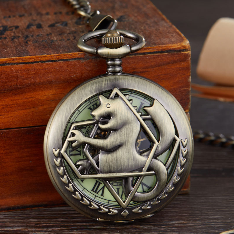 Bronze Tone Fullmetal Alchemist Mechanical Pocket Watch Mens Cosplay Edward Elric Clock Fob Necklace Chain Quartz Pocket Watch