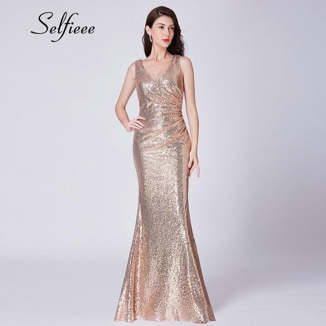 Sexy Dresses Woman Party Night New Design Elegant Little Mermaid V Neck Rose Gold Sequin Dress Long Dress Vestidos De Fiesta