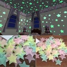 100pcs 3D Stars Glow In Dark Luminous Fluorescent Plastic Wall Sticker Home Decor Decal Wallpaper Decorative