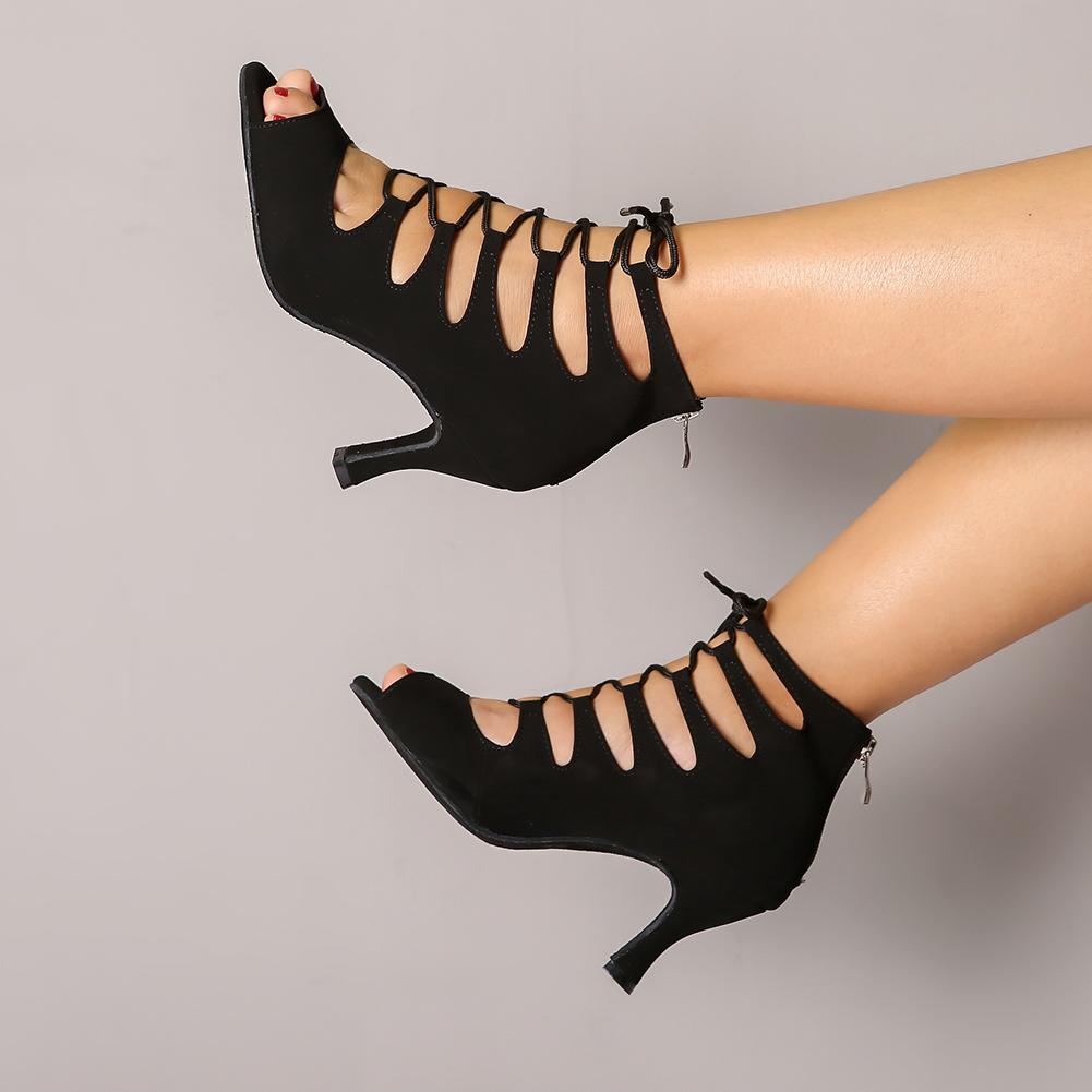 DKZSYIM Purple/Black Latin Dance Shoes Women Ballroom Tango/Salsa Dancing Boots Open Toe High Top Dance Shoes High Heels 6 10CM