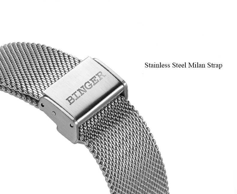 Suisse BINGER marque de luxe mécanique montre automatique Date automatique Auto-vent mâle horloge 21600 haute battement montre Relogio Sport