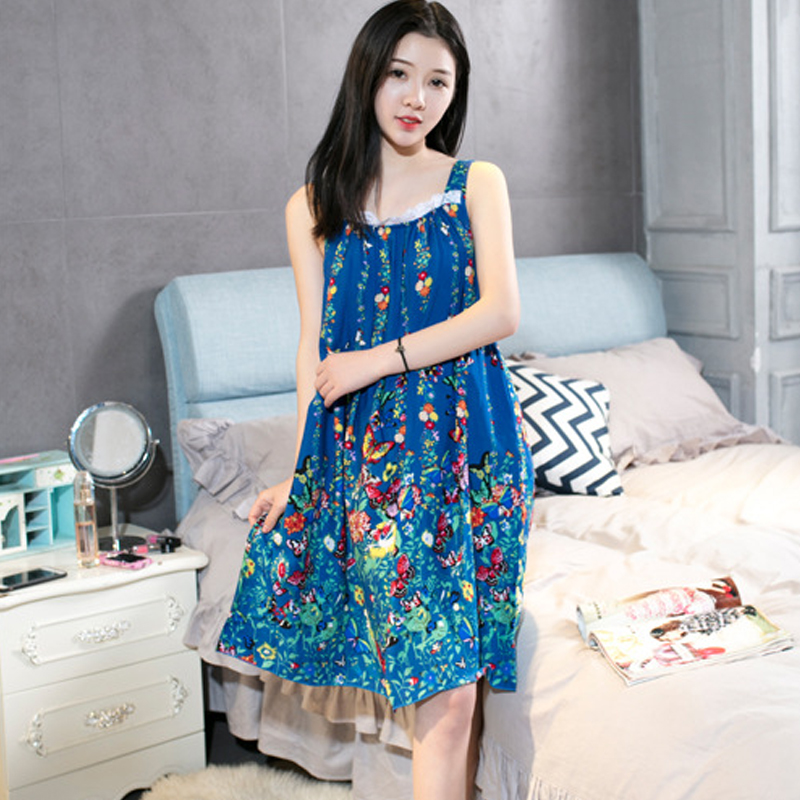 2020 Women's Midi Night Dress Printing Loose Elegant Feamle Sleepwear Sleeveless Spaghetti Strap Casual Nightwear for Women 10