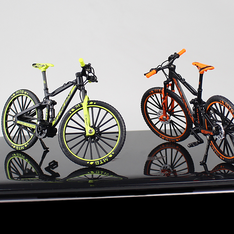 1:10 Mini Diecast Alloy Bicycle Model Metal Racing Finger Mountain Bike Pocket Portable Simulation Collection Toys For Children