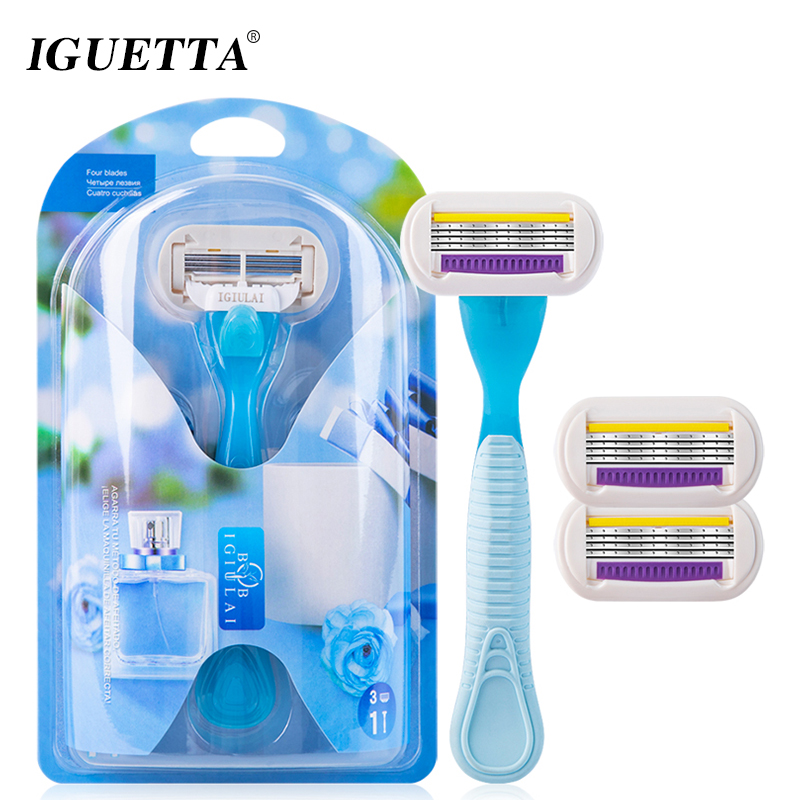 IGUETTA 1Handle&3Blades 4Layer Stainless Steel Shaving Women Bikini Hair Removal Blade Epilator Safety Lady Beauty Shaving