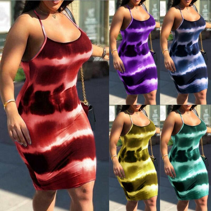 Spaghetti Strap Tie-dyeing Print Sexy Bodycon Mini Dress Women Club Wear 2019 Fashion Rainbow Stretch Dresses Bandage Streetwear