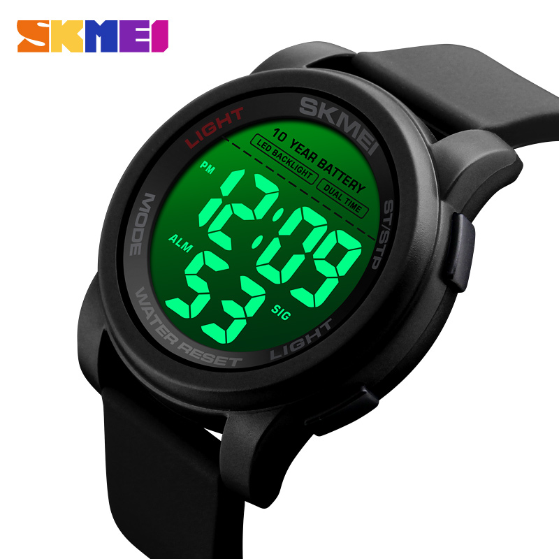 SKMEI Mens Watches Dial 1564 Waterproof Alarm Reloj 2-Time Big Digital Luminous Sport