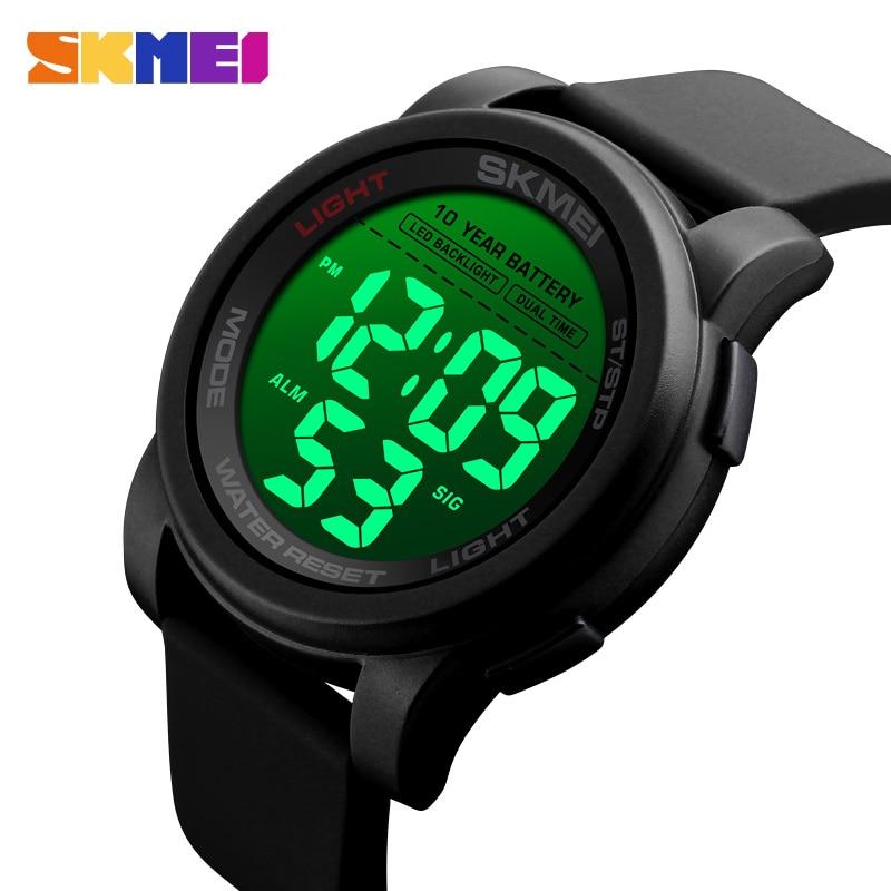 SKMEI Big Dial Sport Watch Men Digital Stopwatch Wristwatches Luminous Waterproof Mens Watches 2 Time Alarm Reloj Hombre 1564