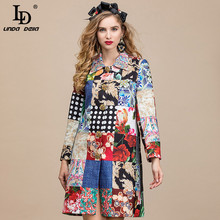 Vintage Coat Outwear Runway Print Floral-Dots Autumn Women Single-Breasted LINDA Bead