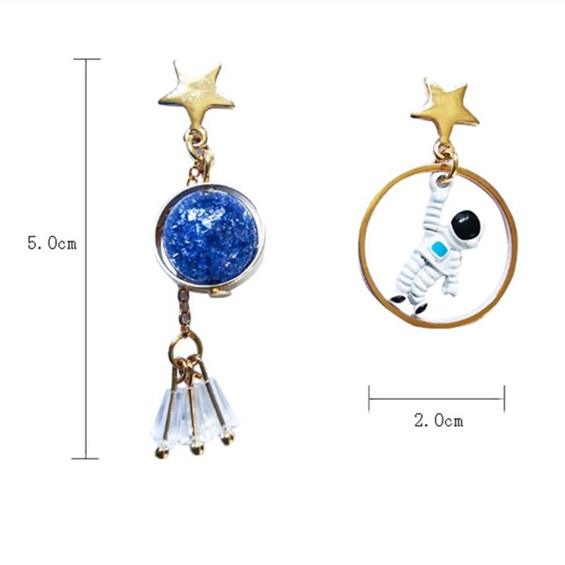 Nieuwe Koreaanse Oorbellen Asymmetrische Pentagram Oorbellen Ruimte Astronauten Aarde Kleine Oorbellen Voor Vrouwen Partij Sieraden - 5