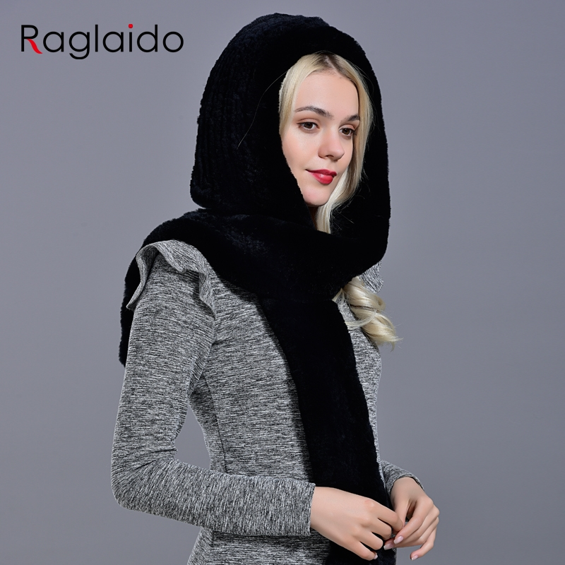 Rabbit Fur Hood Hats For Women Winter Warm Luxury Knitted Fur Scarf Hat Stylish Fashionable Genuine Outdoor Large Female Hat