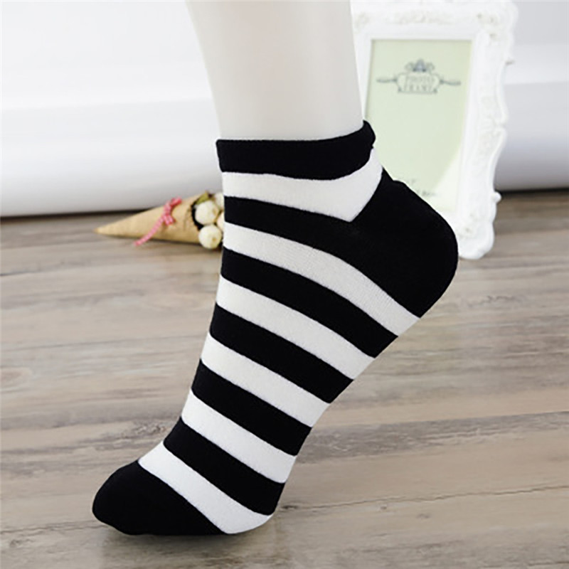 USUS-B10  Women Short Socks Striped Cotton Low Cut Ankle High Invisible Sock