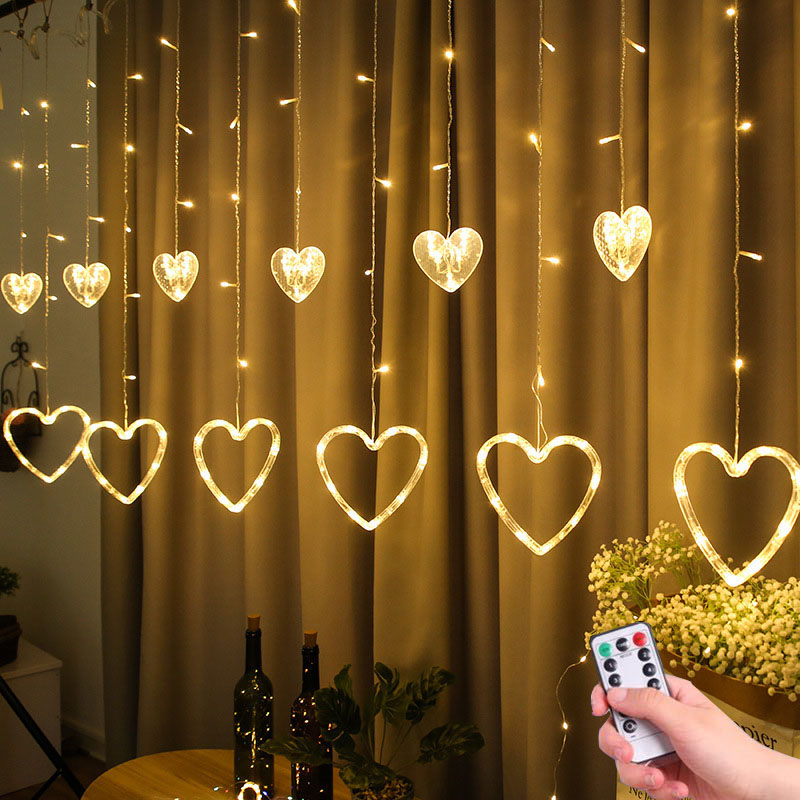 2.5M EU/US Plug Heart Shaped Curtain Light Fairy String Lights Christmas Garland Outdoor For Party Home Wedding New Year Decor