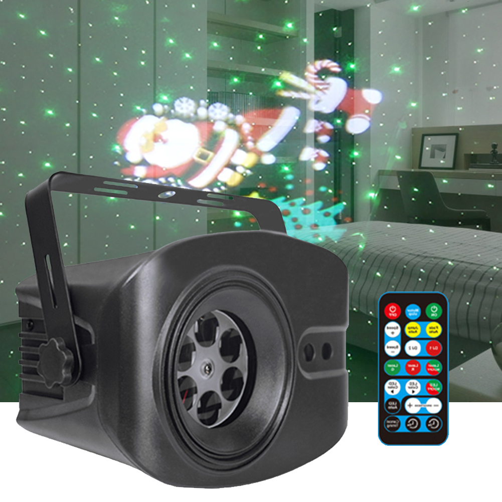 Christmas Light 52 Pattern Starry Sky Moving LED Laser Projector Light Voice Remote Control Stage Effect Lighting Xmas Party Dec