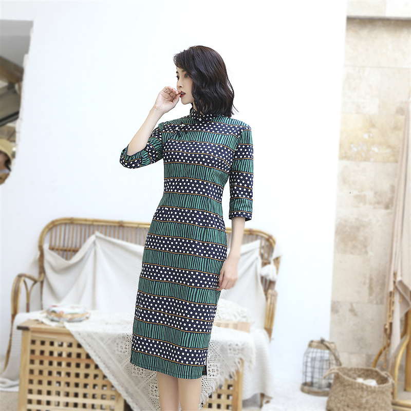 Sheng Coco Chinees Dresses Green Hit Color Stripe Qipao Lady Long Sleeve Autumn Winter Cheongsam Cotton Lattice Qi Pao