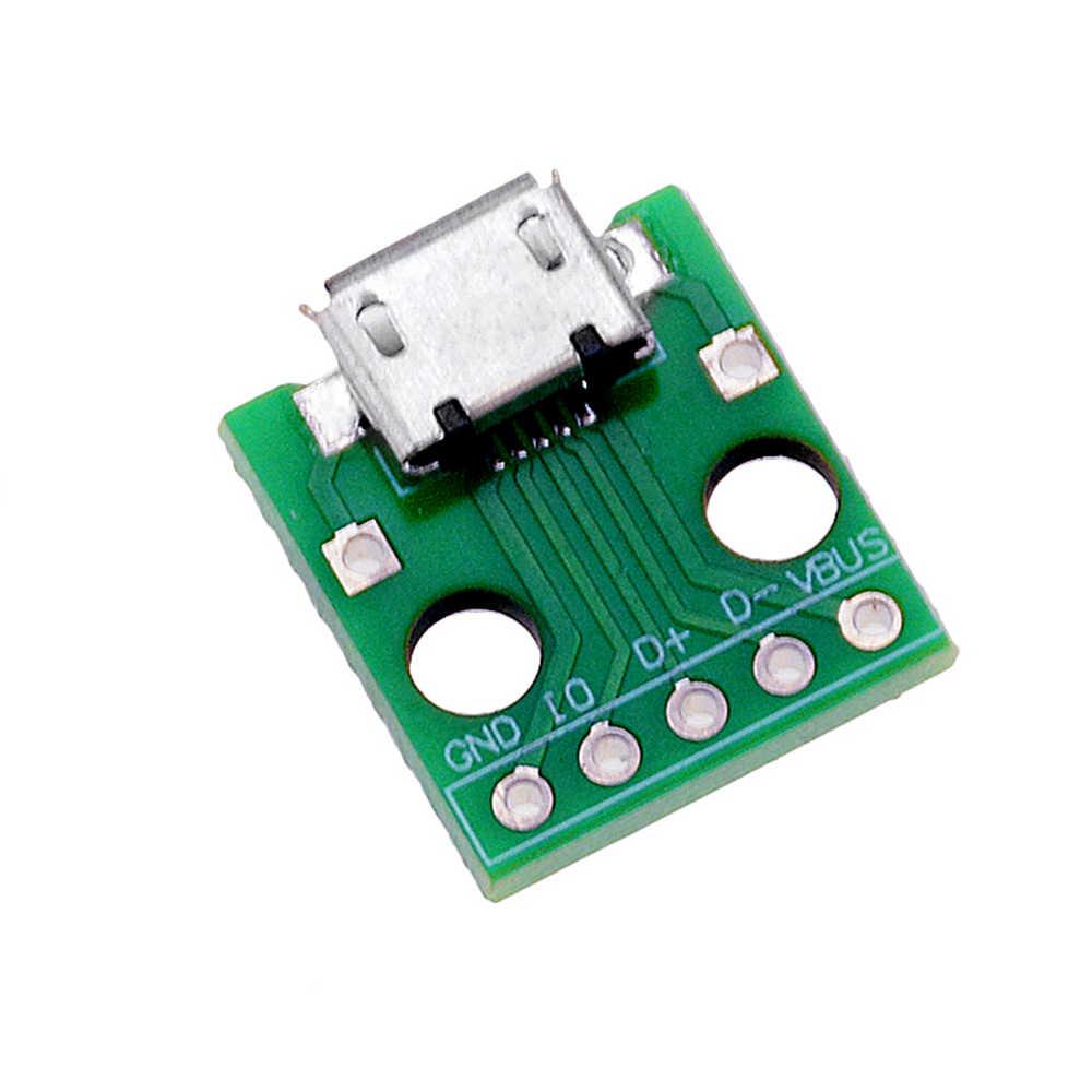 10 Pcs Mikro Usb untuk DIP Adapter 5pin Perempuan Konektor B Jenis PCB Converter Papan Tempat Memotong Roti Switch Board SMT Ibu Kursi