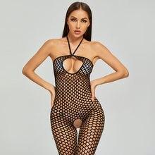 2020 halter sem costas fishnet bodysuit feminino teddy slutty sexo roupas ver através aberto virilha corpo meias malha lingerie sexy