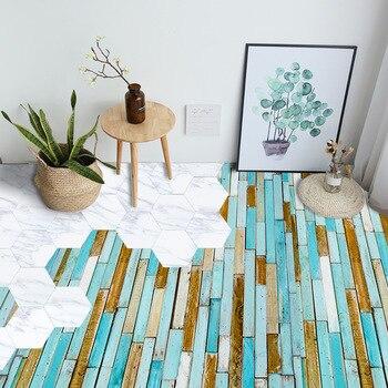 Blue Wood Grain Floor Stickers Floor Wallpaper Waterproof Wear-Resistant Self-Adhesive Floor Tile Living Room Bedroom EWF051