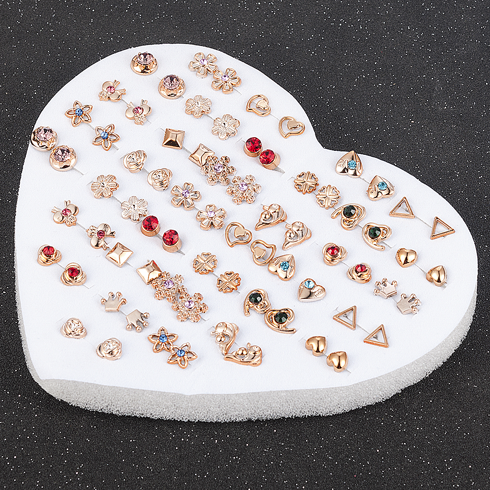 12-36 Pair/Set Random Design Fashion Women Lady Round Star Plastic Rhinestone Crystal Flower Ear Stud Earring Jewelry