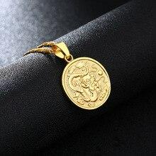 Dragon Pendant Neckalces for Women Auspicious Statement Necklace Jewelry Stainless Steel Link Chain Metal Coin Pendants silver link luminous stone pendant necklace long chain moon pendant glow in dark hollow women necklace pendants jewelry