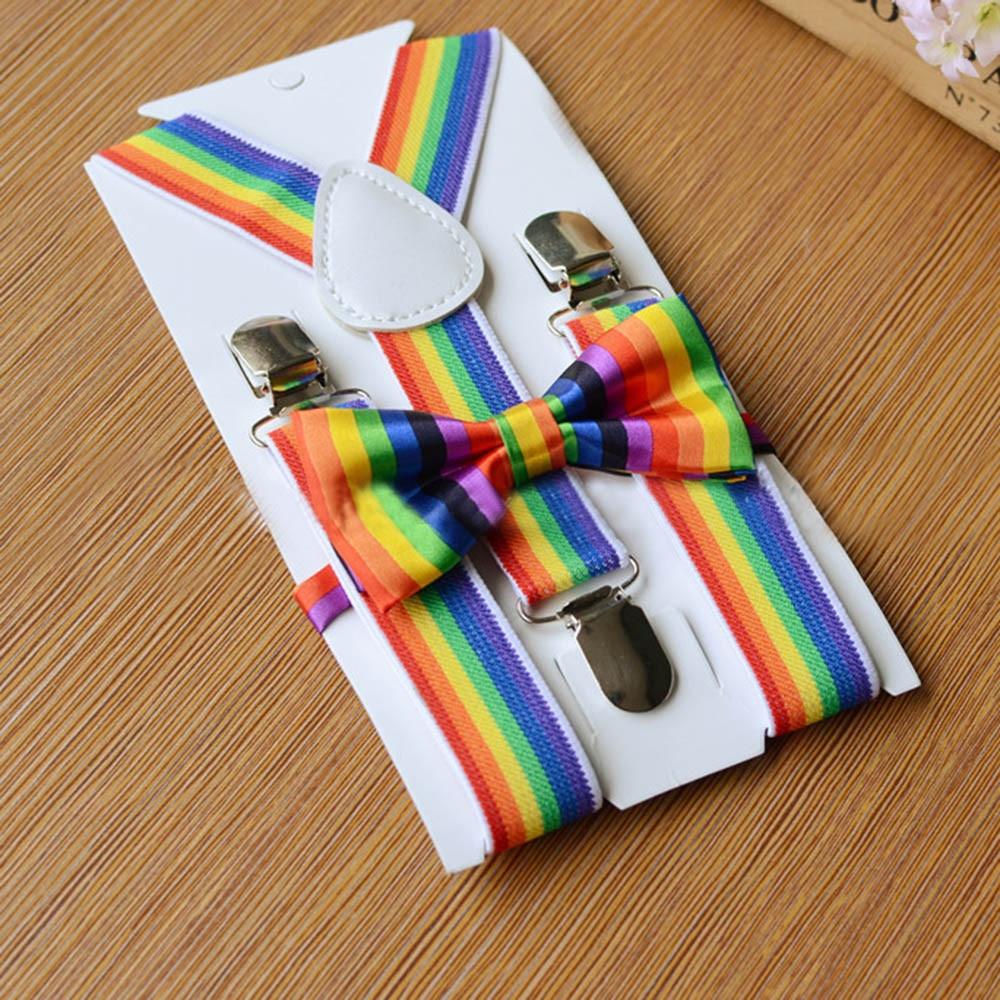 Детский комплект с разноцветными подтяжками и радужным галстуком-бабочкой для мальчиков и девочек, Детский комплект с разноцветным галстуком-бабочкой на застежке для брюк - Цвет: A
