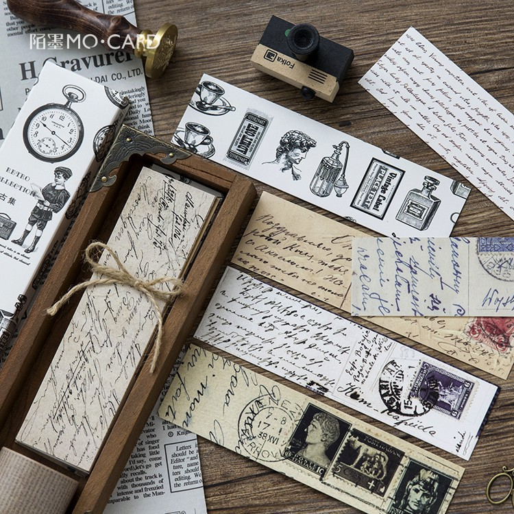 Journamm 30pcs/box Vintage Retro Style Clock Newspaper Map Bookmarks for Novelty Book Reading Maker Page Creative Paper Bookmark 1