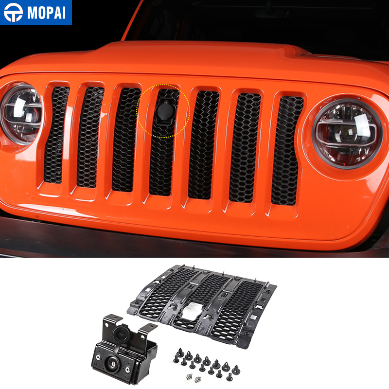 MOPAI Car Grilles Smart Locks Cover for <font><b>Jeep</b></font> Wrangler JL 2018 Car <font><b>Hood</b></font> <font><b>Latch</b></font> Catch Lock Kit for <font><b>Jeep</b></font> JL Wrangler Car Accessories image