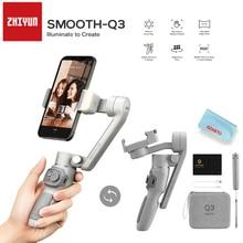 ZHIYUN חלק Q3 3 ציר טלפון Gimbal גמיש כף יד מייצב עם למלא אור עבור Smartphone iPhone Xiaomi Huawei אנדרואיד ce