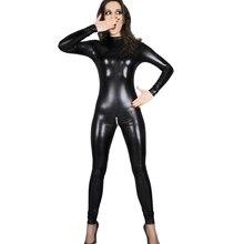 Sexy Del Cuoio Del Faux Della Biancheria Della Tuta Delle Donne In Lattice pvc catsuit Costumi Cavallo Aperto fetish Wear Hot Erotic Clubwear Più Il Formato XXXL