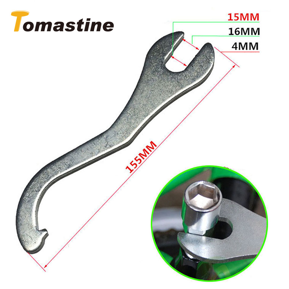 2 In 1 15mm/16mm Portable Metal Spanner Bike Bicycle Pedals Bottom Bracket Ring Wrench Tool