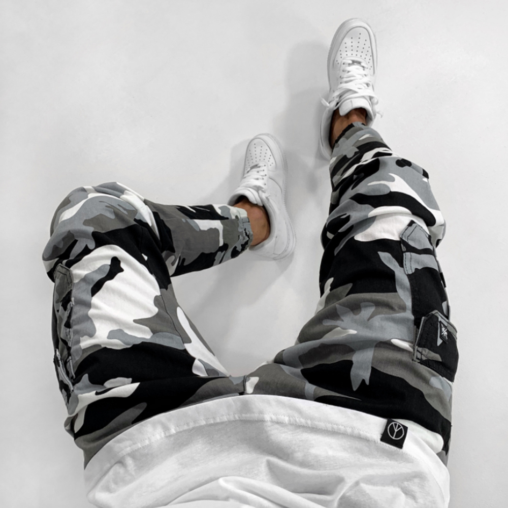 Camouflage Men Jeans Mid Waist 2019 Mens Skinny Denim Pants Patchwork Casual Jeans Hip Hop High Street Male Jean Trousers D25