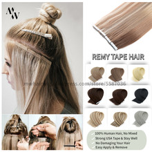Mw fita de remy tirada dobro em extensões do cabelo humano 100% cola adesiva de trama da pele real no cabelo 16/20/24 polegadas multi-cores