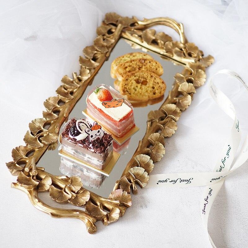 Plateau de rangement Rectangle nordique miroir | Assiette sculptée, aliments thé fruits Snack café Dessert assiette décoration de la maison, plateau de rangement d'articles divers