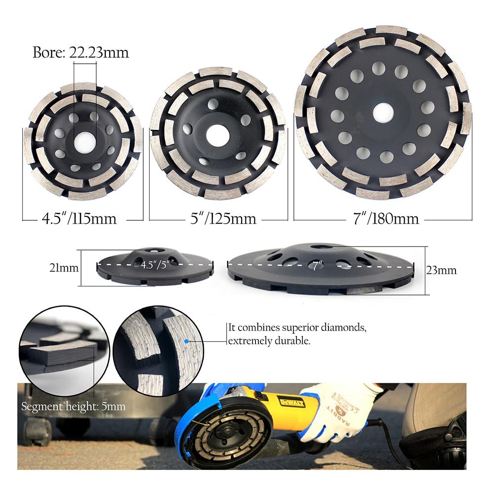 Raizi 115/125/180 мм Алмазный шлифовальный диск для бетона двухрядный