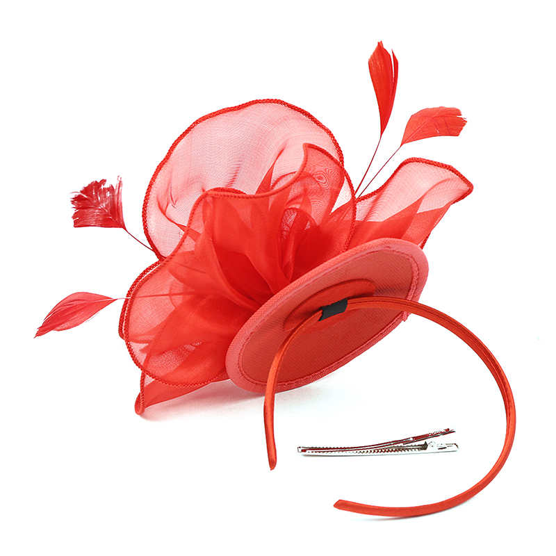 Bridal Net Feather Hats Bridal Flower Fascinator Bride Wedding Hats Special Occasion Ladies Hats Headwear Flower With Headband