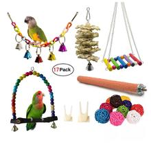 17pcs/set Bird Toys Bird Parrot Swing Chewing Toys Hanging Bell Birds Cage Toys Suitable for Small Parakeets Cockatiel, Conures 8pcs parrot toys birds toys swing bird chewing toys birds cage toys